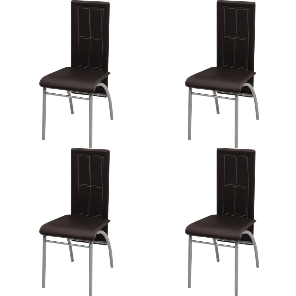 Acheter vidaxl chaise de salle manger 4 pcs marron pas for Chaise de salle a manger marron