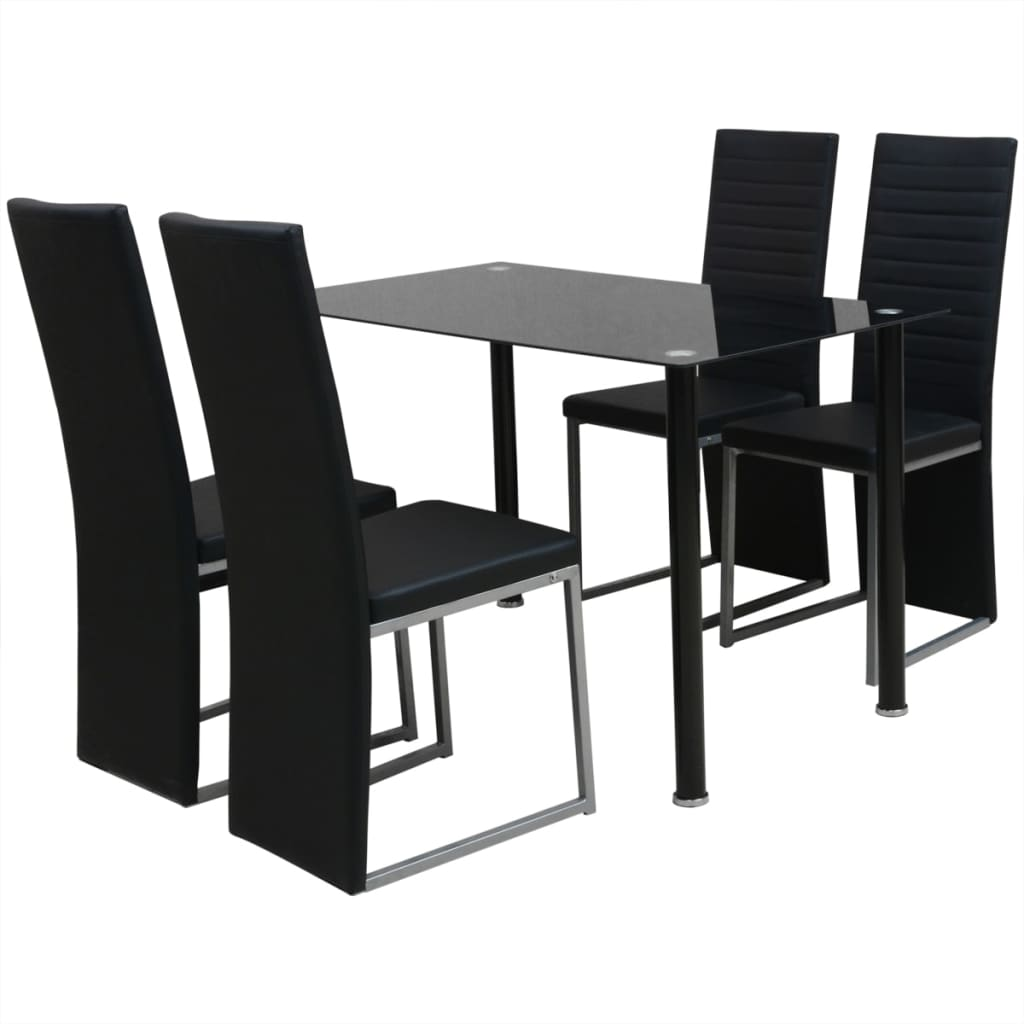 ensemble d ner noir blanc et noir table et chaises de salle manger cuisine ebay. Black Bedroom Furniture Sets. Home Design Ideas
