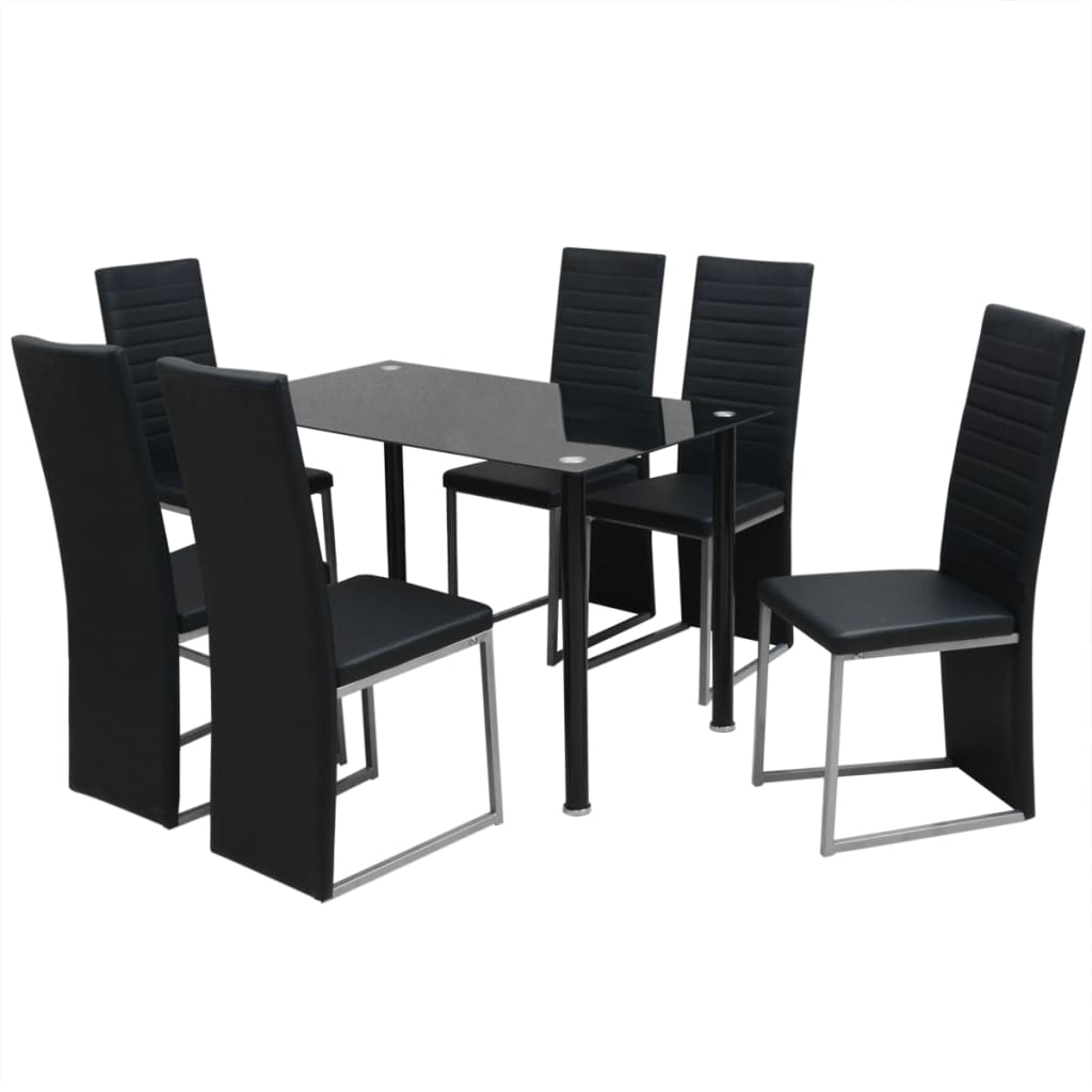 vidaxl set sala da pranzo 7 pezzi nero. Black Bedroom Furniture Sets. Home Design Ideas
