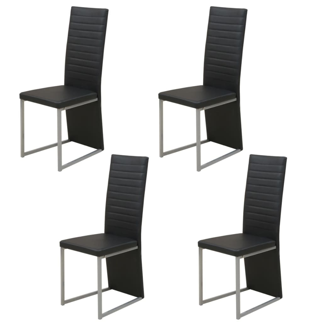 acheter vidaxl chaise de salle manger 4 pcs noir pas cher. Black Bedroom Furniture Sets. Home Design Ideas