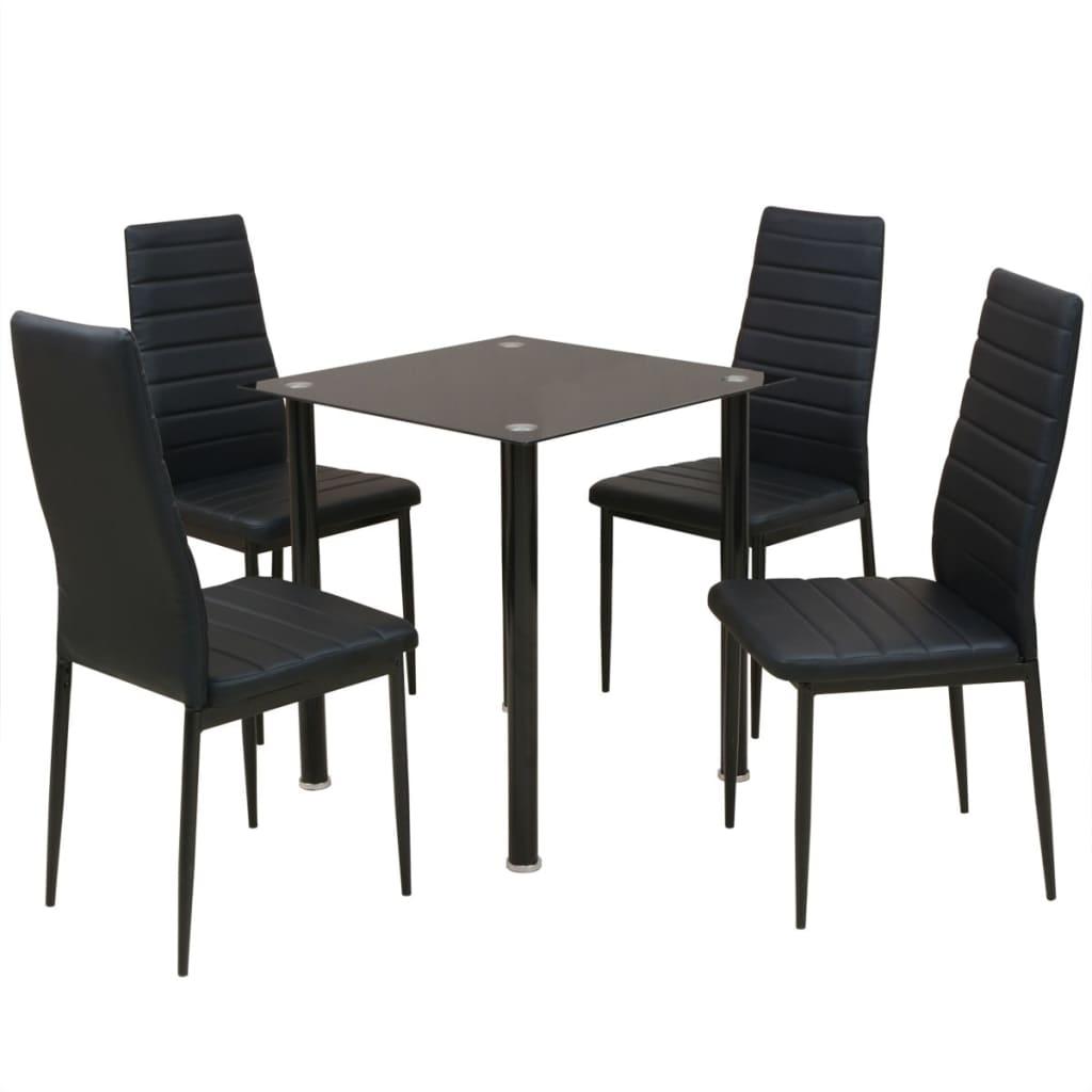 vidaXL Eetkamerset tafel en stoel zwart 5-delig
