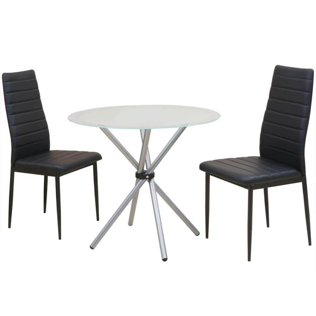 Vidaxl conjunto de mesas y sillas de comedor de tres for Sillas lacadas en blanco comedor