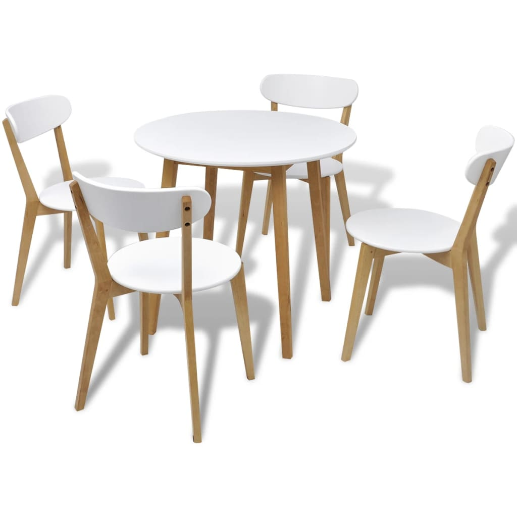 Small round table and 4 chairs birch wood bistro coffee for Small wooden dining table set