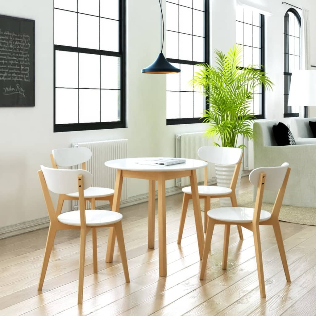 Small round table and 4 chairs birch wood bistro coffee for Small wood dining table and chairs