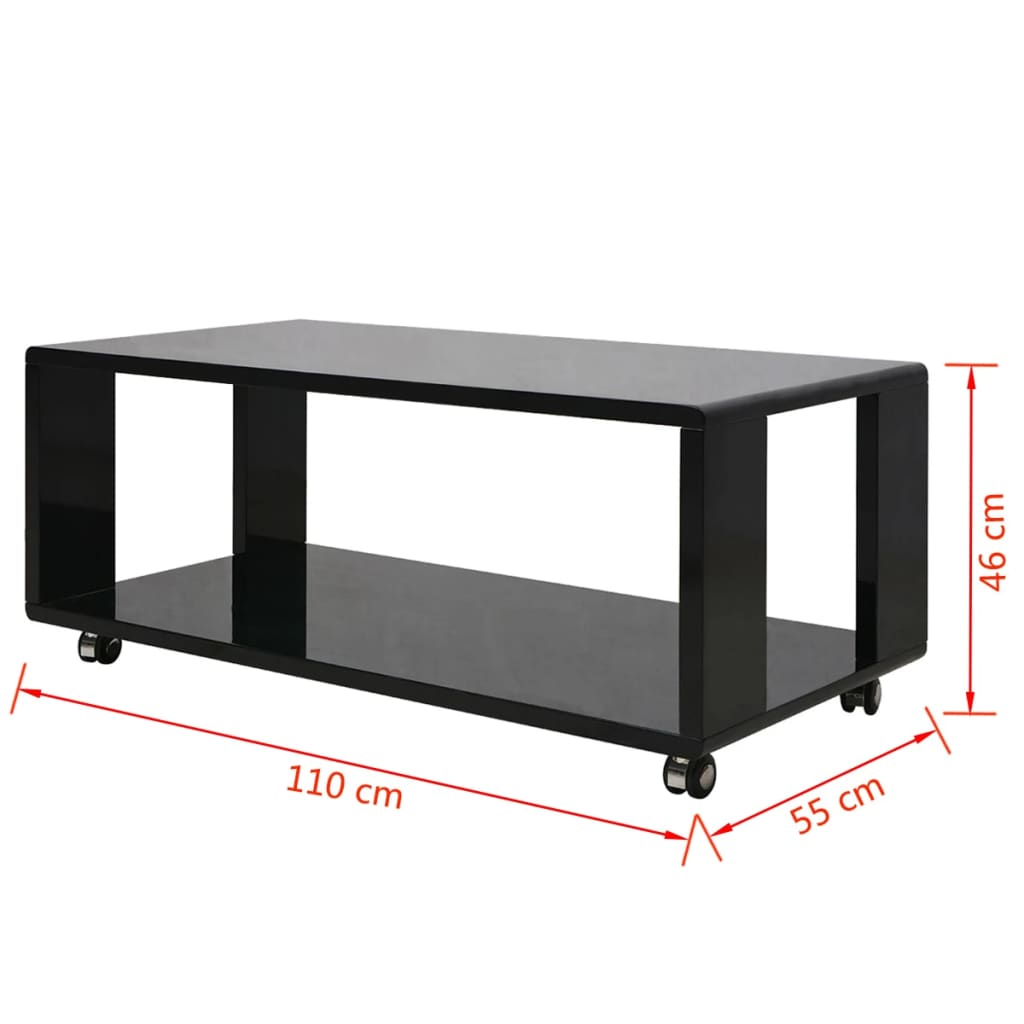 Vidaxl High Gloss Coffee Table Black