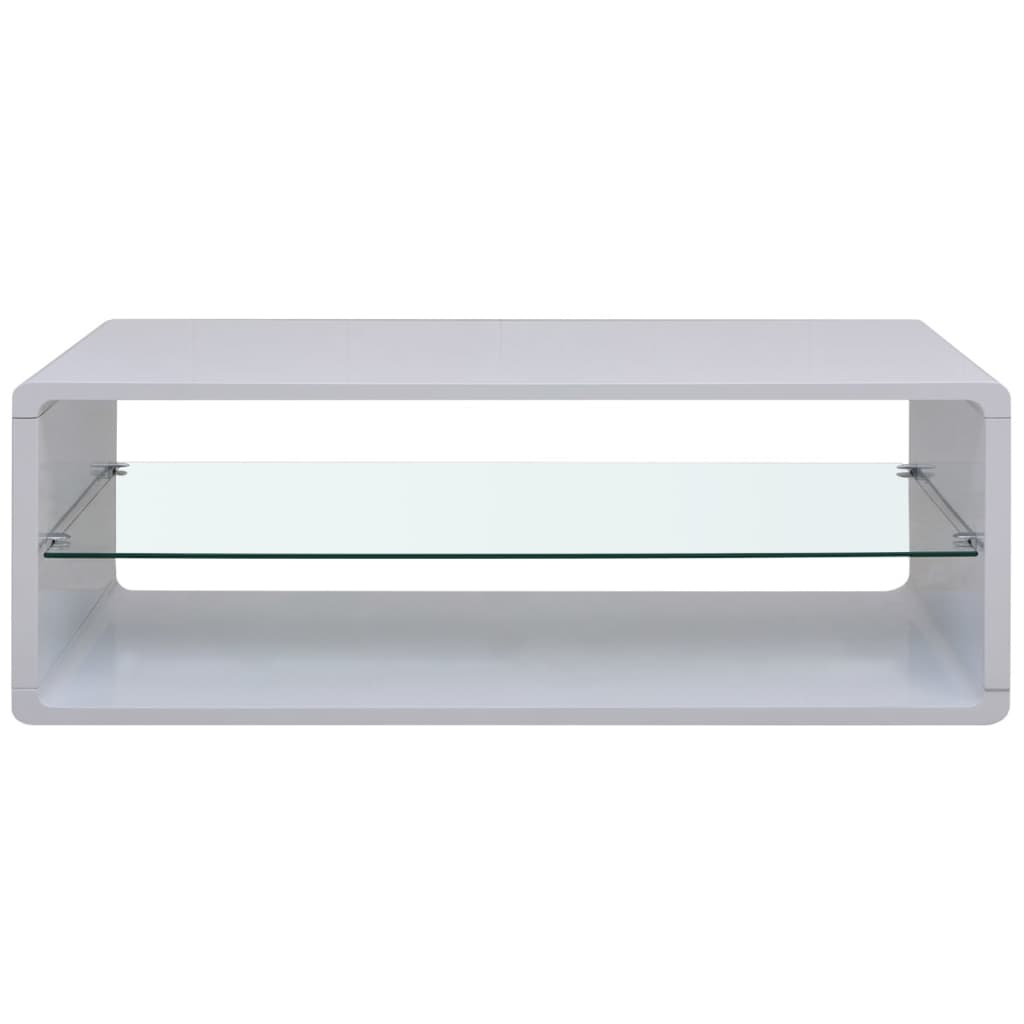 High Gloss White Coffee End Table Glass Shelf Modern Contemporary Living Room Ebay
