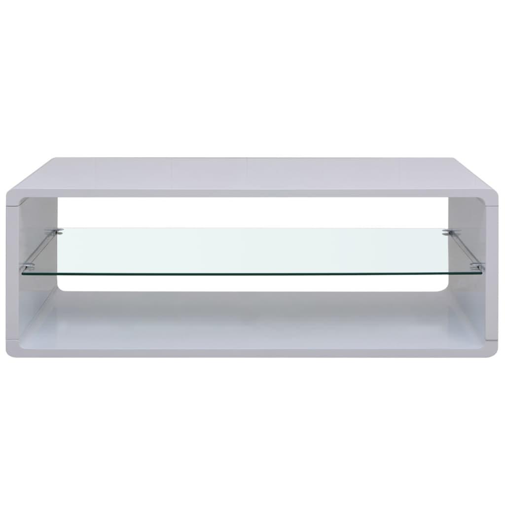 High Gloss White Coffee End Table Glass Shelf Modern Contemporary Living Room Ebay