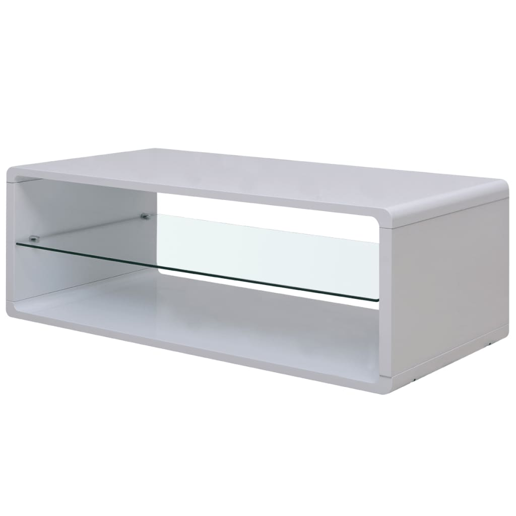 Design High Gloss White Coffee Table With Black Tempered: VidaXL High Gloss Coffee Table White