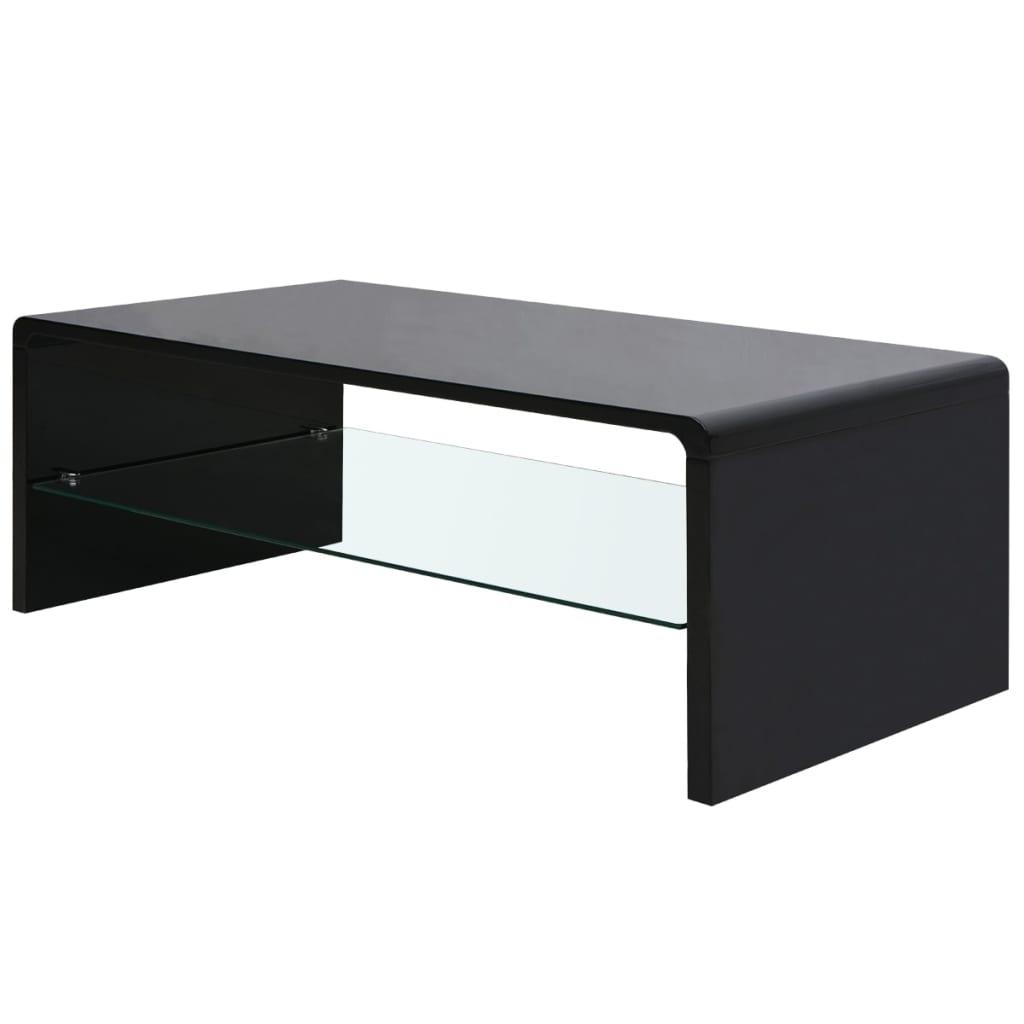 vidaXL magasfényű dohányzóasztal fekete