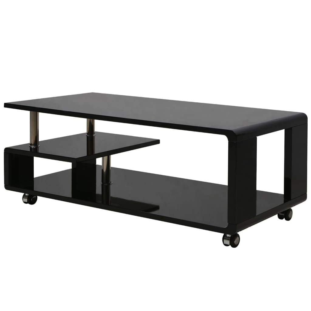 acheter vidaxl table basse brillante noir pas cher. Black Bedroom Furniture Sets. Home Design Ideas