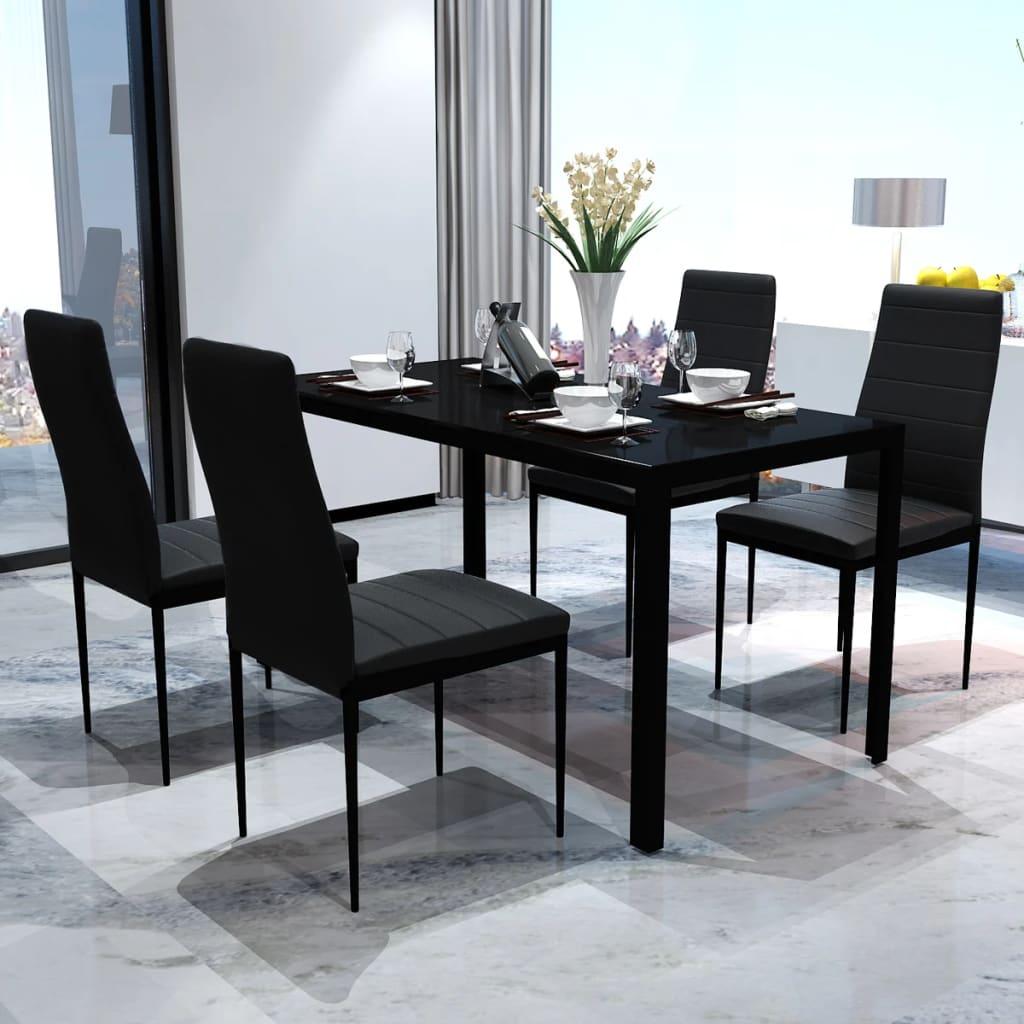 vidaXL 5 darabos fekete étkező asztal szett