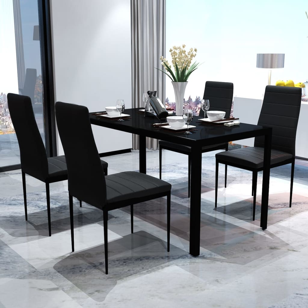 vidaxl 5tlg esstisch sitzgruppe essgruppe esszimmer esstischset st hle schwarz ebay. Black Bedroom Furniture Sets. Home Design Ideas