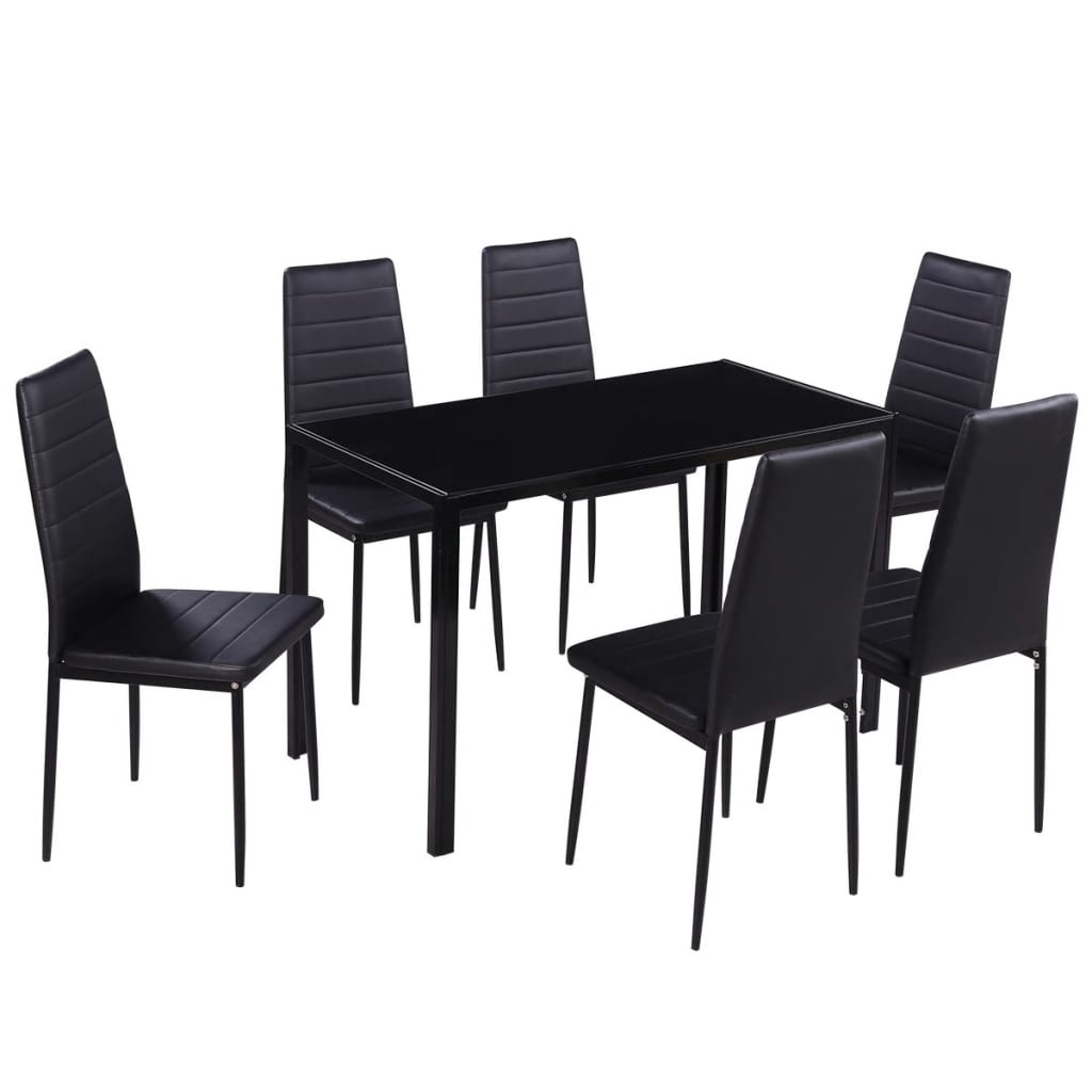 Acheter vidaxl ensemble de table manger sept pi ces noir for Solde table a manger