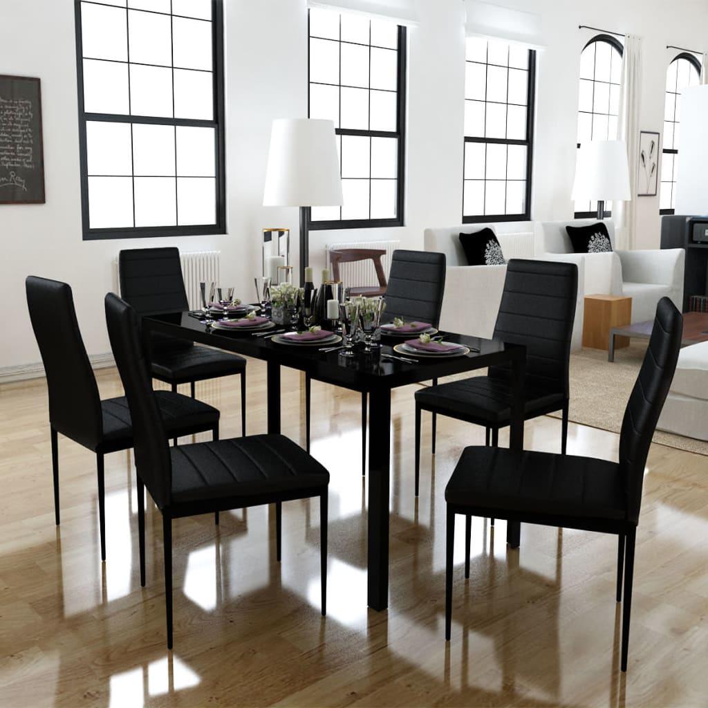 vidaXL 7 darabos fekete étkező asztal szett