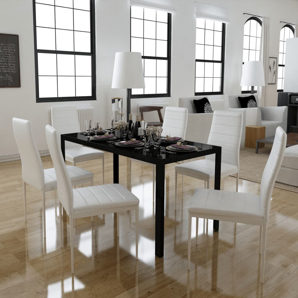 vidaXL 7 darabos Fekete és fehér étkező asztal szett
