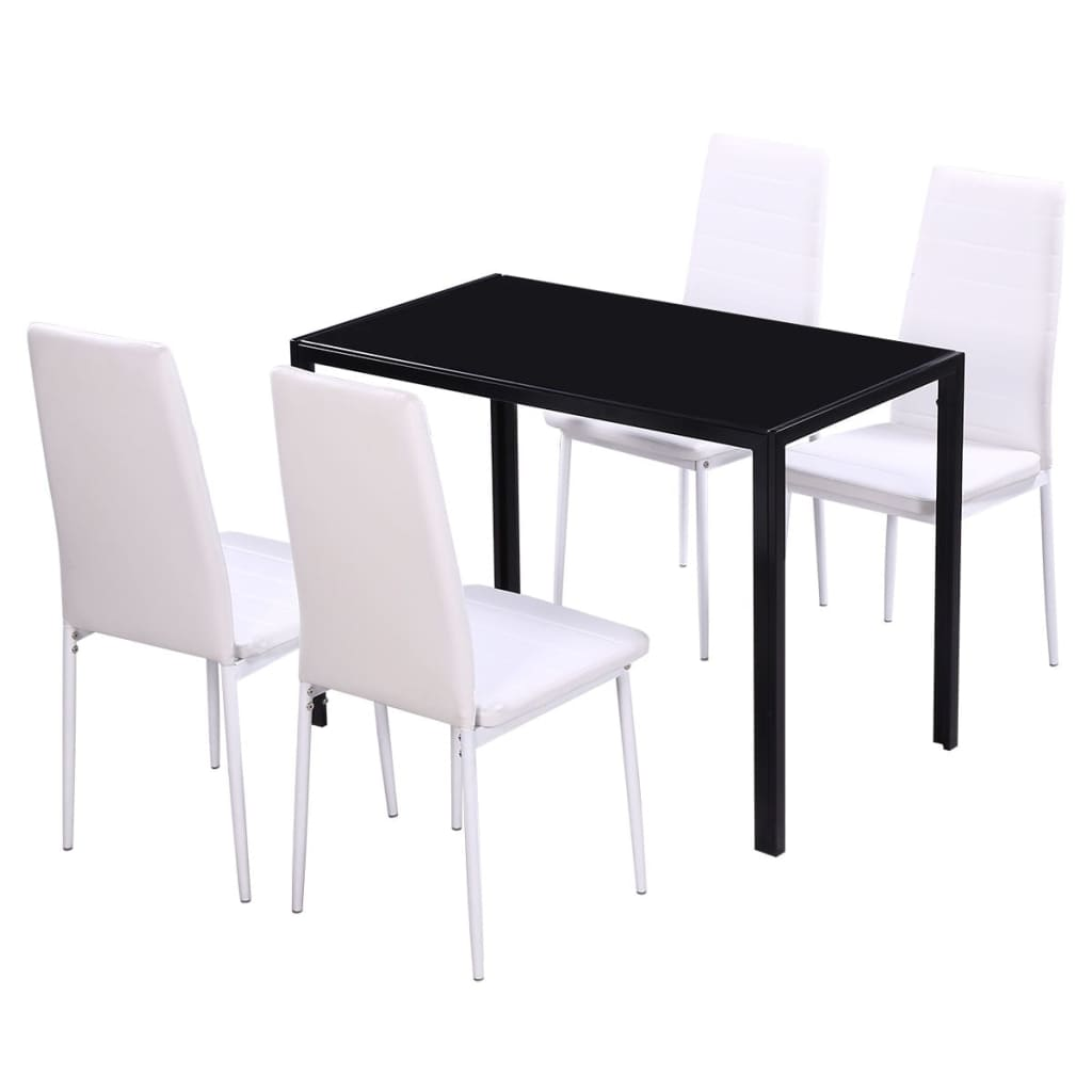 Vidaxl five piece dining table set black and white for Black and white dining set