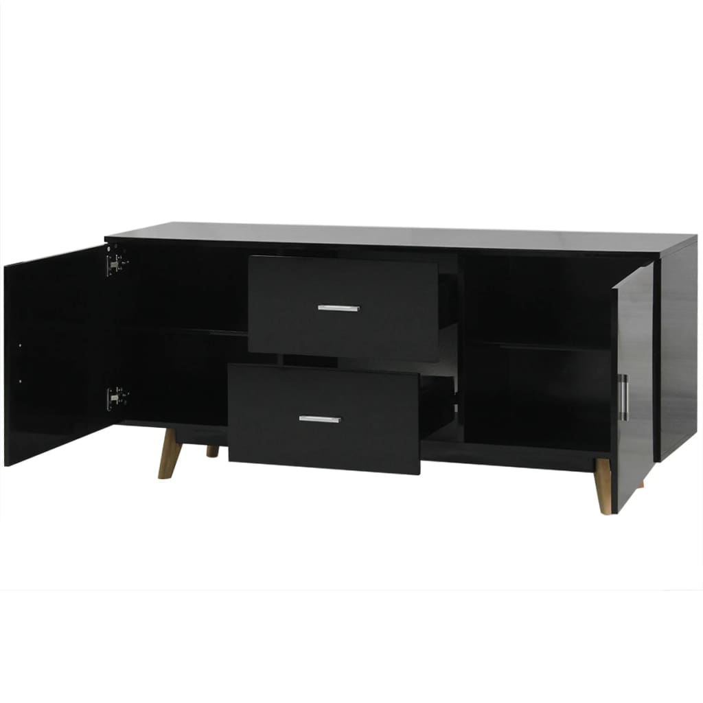 Vidaxl high gloss sideboard 160x40x70 cm mdf black for Sideboard 40 cm