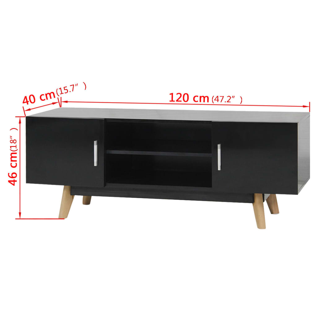 handla vidaxl tv m bel h gglans svart 120x40x46 cm mdf. Black Bedroom Furniture Sets. Home Design Ideas
