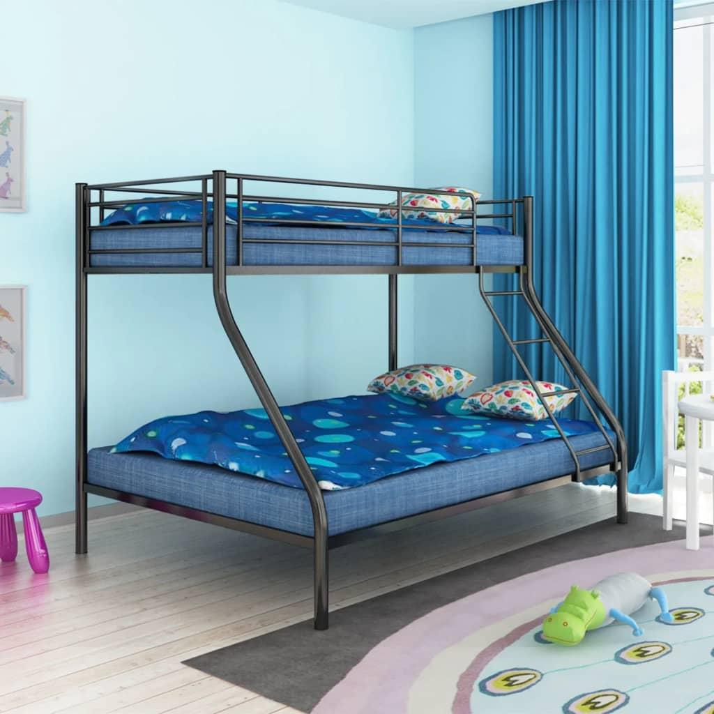 Cadre-de-lit-superpose-pour-enfants-en-metal-Blanc-Noir-Gris-Lit-enfant