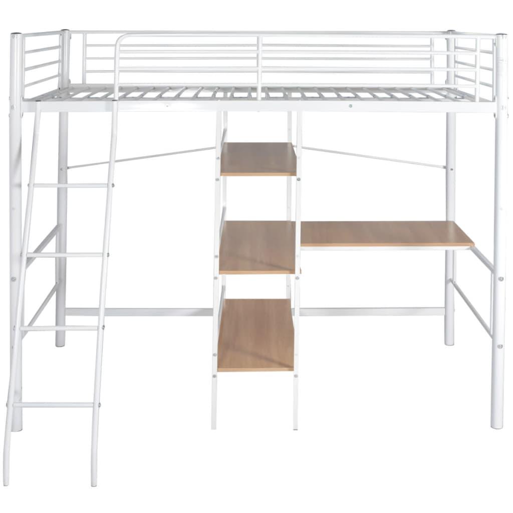 vidaxl hochbett mit schreibtisch metall 200x90 cm wei und. Black Bedroom Furniture Sets. Home Design Ideas