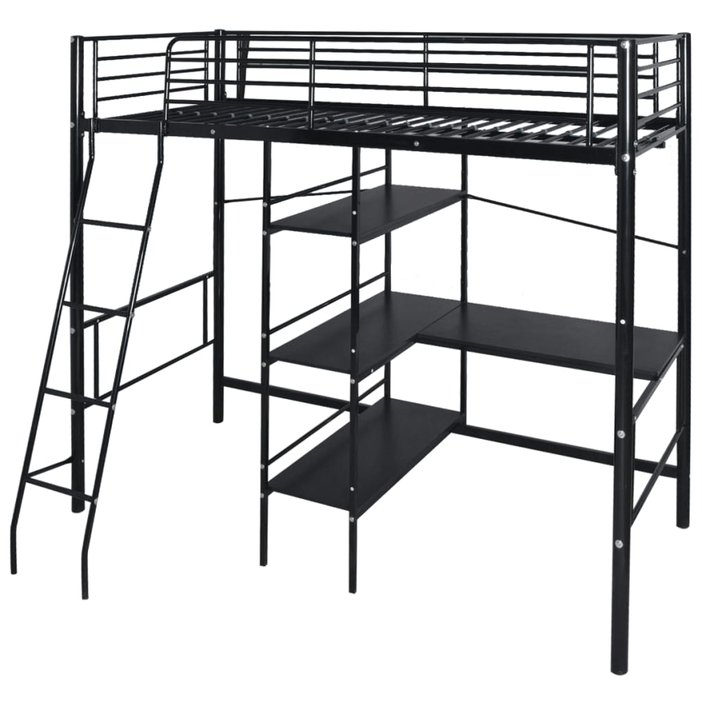 vidaxl hochbett mit schreibtisch metall 200x90 cm schwarz g nstig kaufen. Black Bedroom Furniture Sets. Home Design Ideas