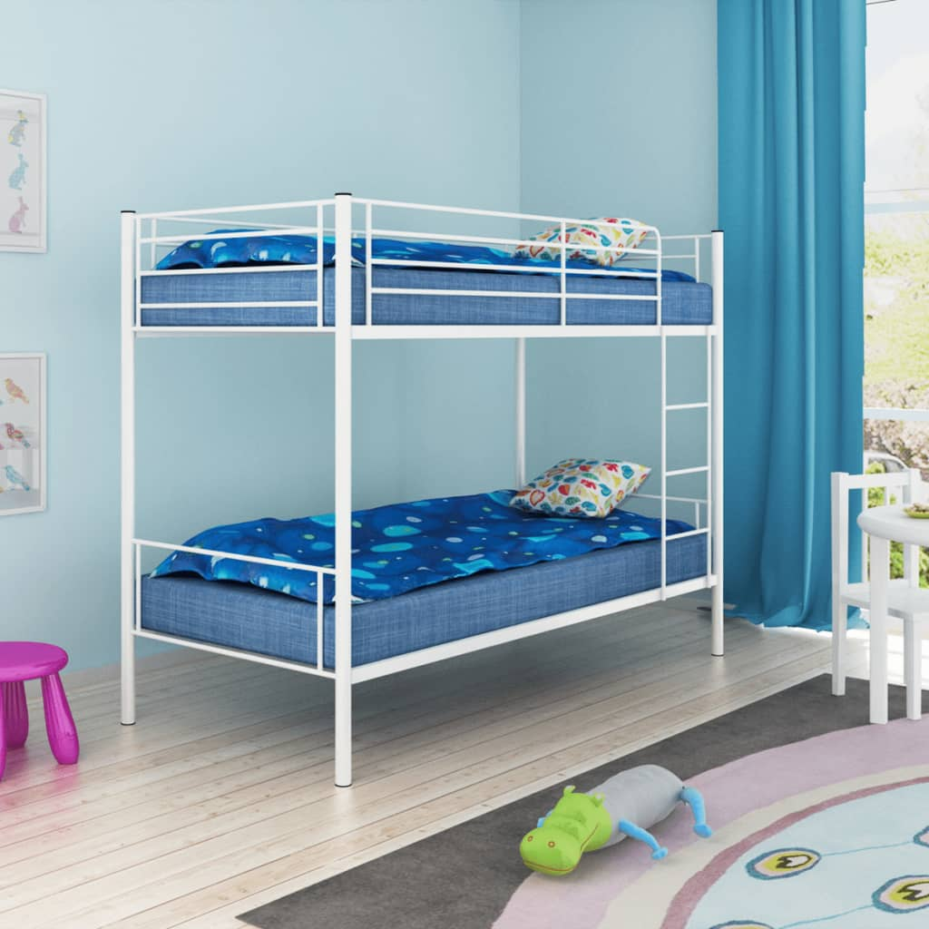 la boutique en ligne vidaxl cadre de lit superpos pour enfants 200 x 90 cm m tal blanc. Black Bedroom Furniture Sets. Home Design Ideas