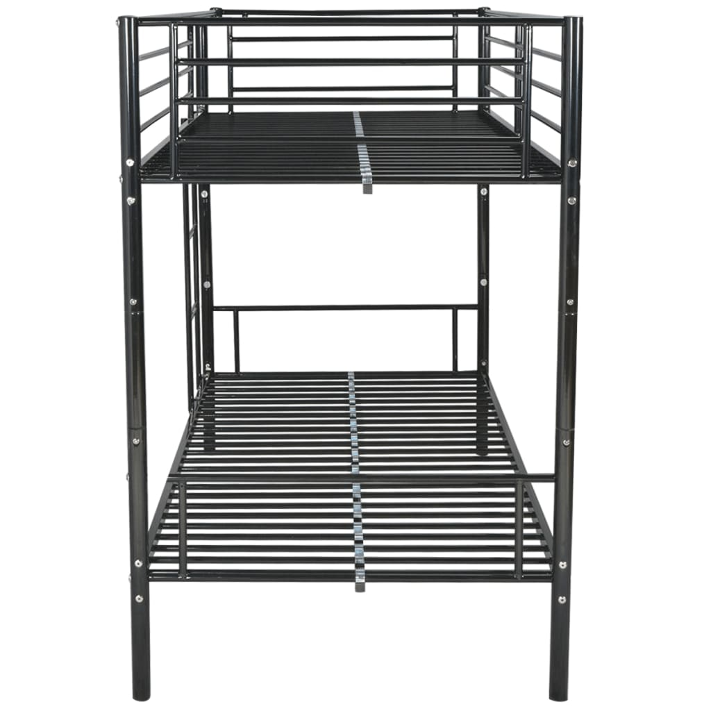 Vidaxl children s bunk bed frame 200x90 cm metal black for Bunk bed frame
