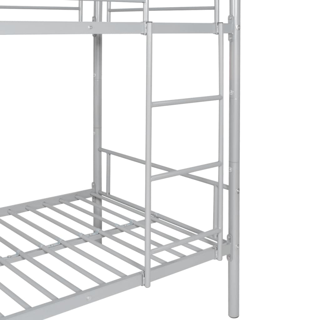 Vidaxl children s bunk bed frame 200x90 cm metal grey for Bunk bed frame