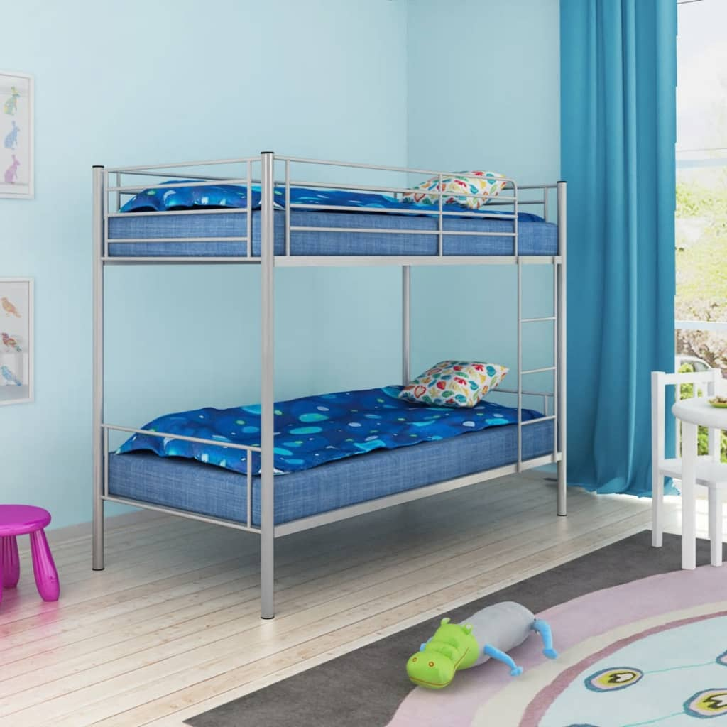 vidaxl children s bunk bed frame 200x90 cm metal grey. Black Bedroom Furniture Sets. Home Design Ideas
