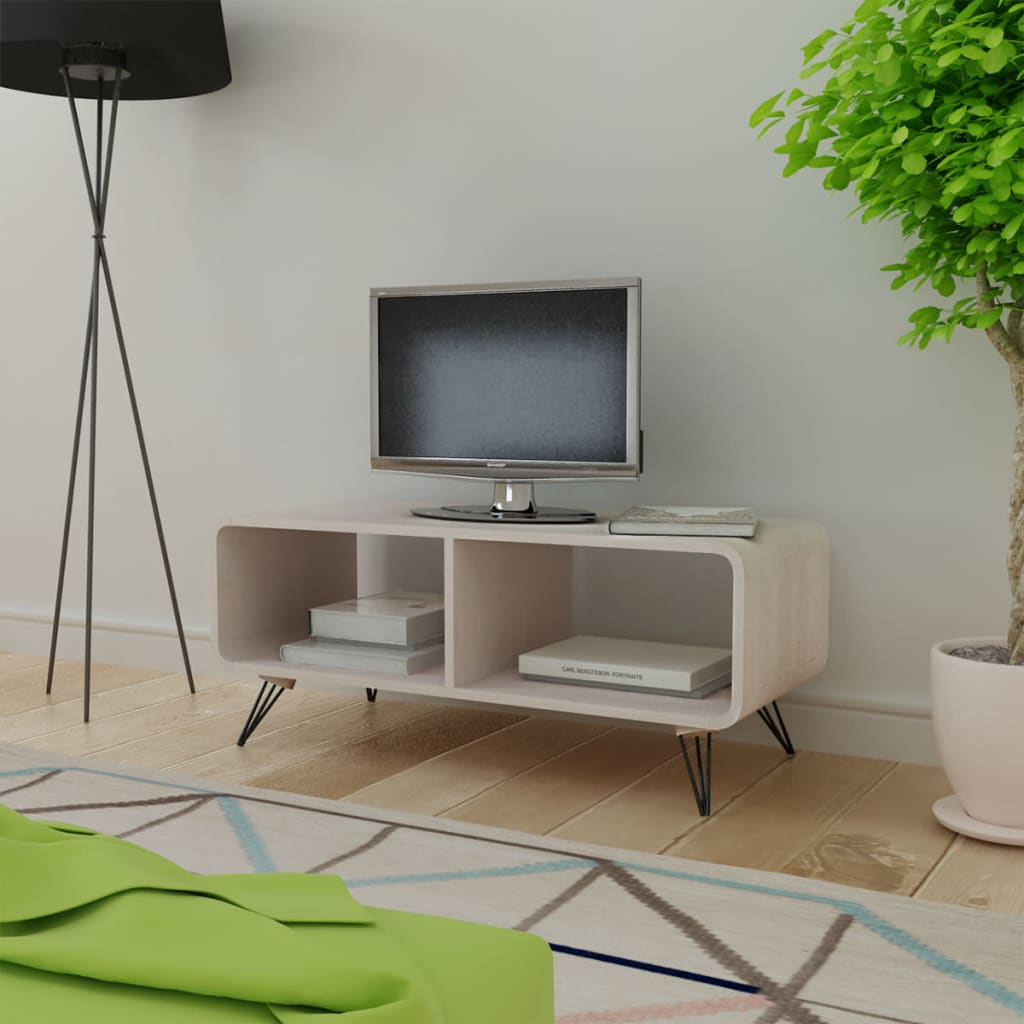 Vidaxl meuble tv 90 x 39 x 38 5 cm bois gris armoire tv for Meuble tv 90 cm