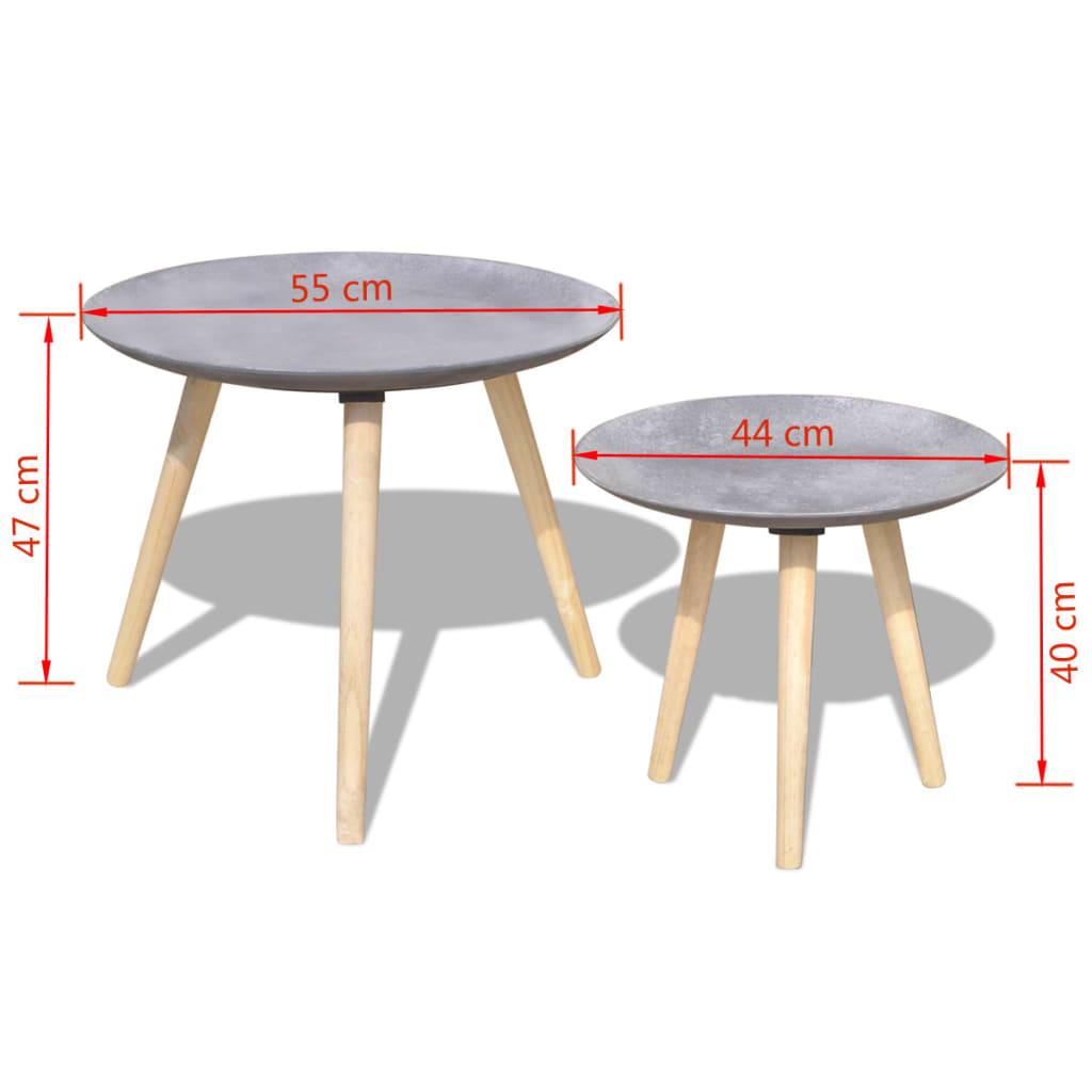 vidaxl mesa de centro hormig n gris 2 unidades 55 cm 44. Black Bedroom Furniture Sets. Home Design Ideas