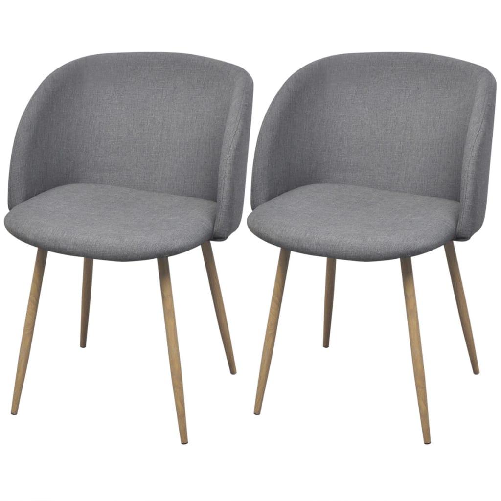 vidaXL Krzesła do jadalni, jasno szare, 2 szt.