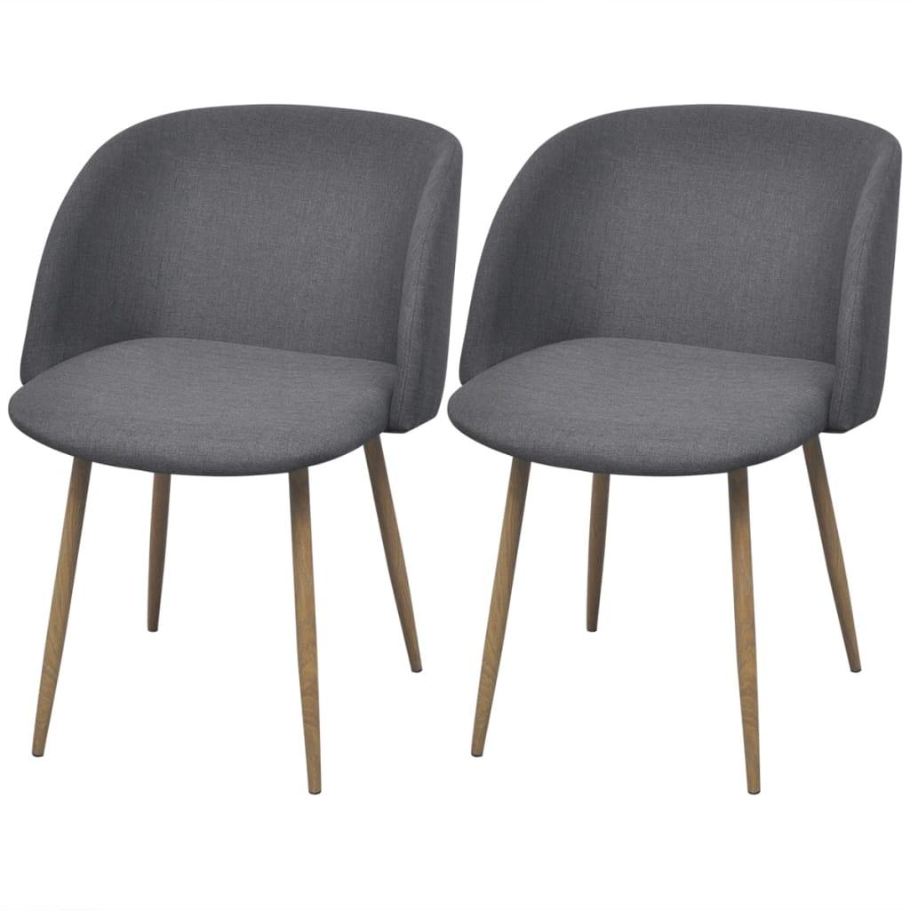 Vidaxl sillas de comedor 2 unidades gris oscuro tienda for Sillas de comedor grises