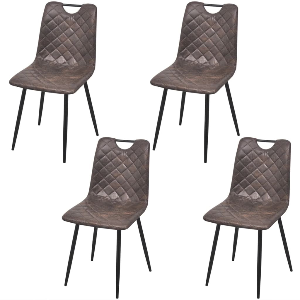 Vidaxl sillas de comedor de cuero artificial 4 unidades for Sillas comedor marron
