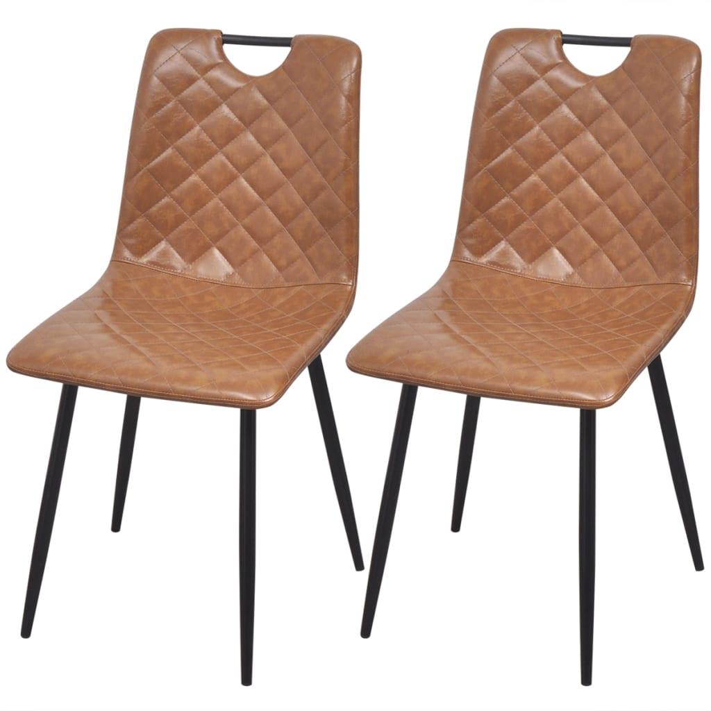 Vidaxl sedie da pranzo 2 pz in pelle artificiale marrone for Sedie in pelle marrone