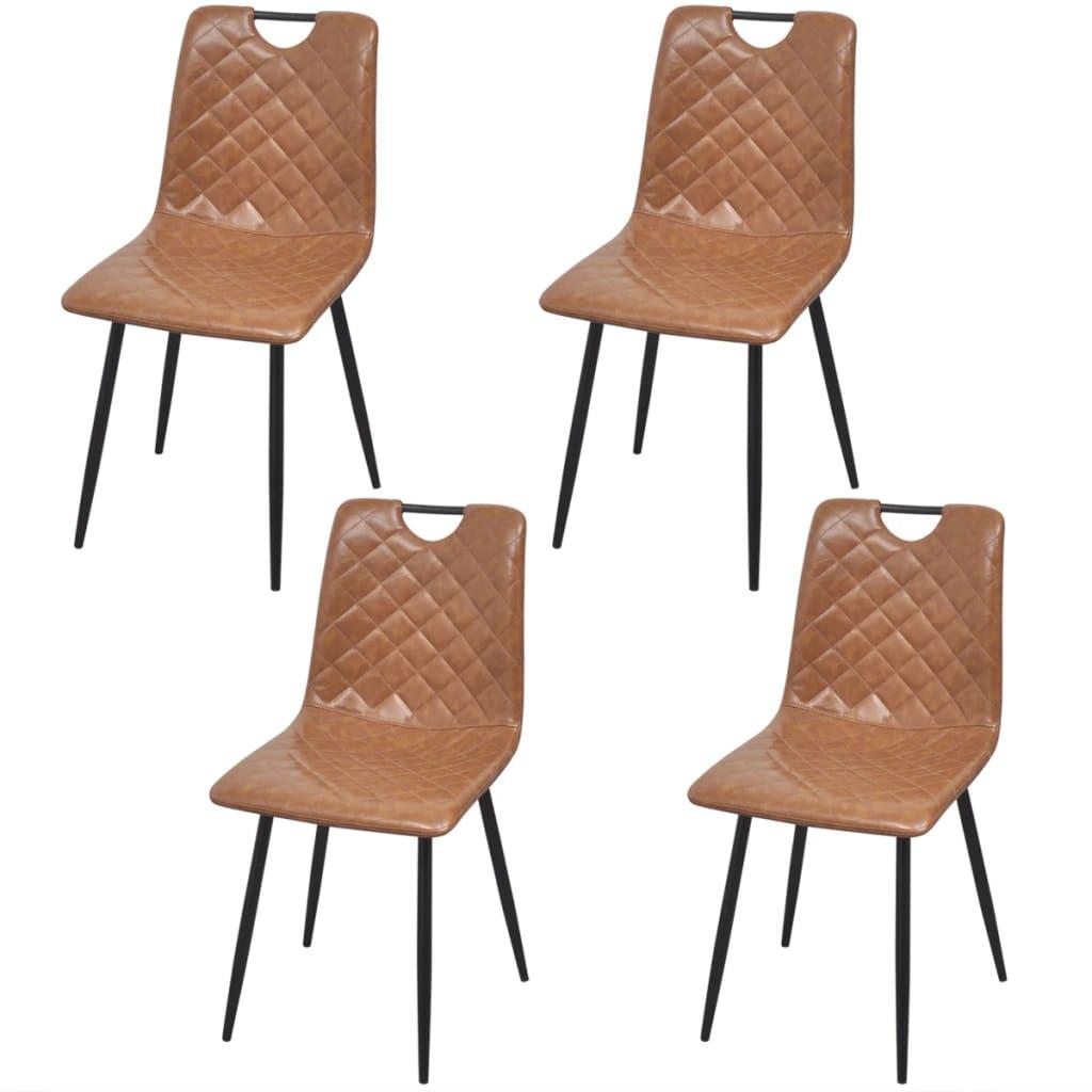 Vidaxl sillas de comedor de cuero artificial 4 unidades for Sillas comedor cuero marron