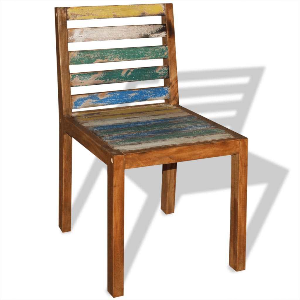 Reclaimed Wood Dining Chairs ~ Pcs antique handmade wooden dining chairs solid reclaimed