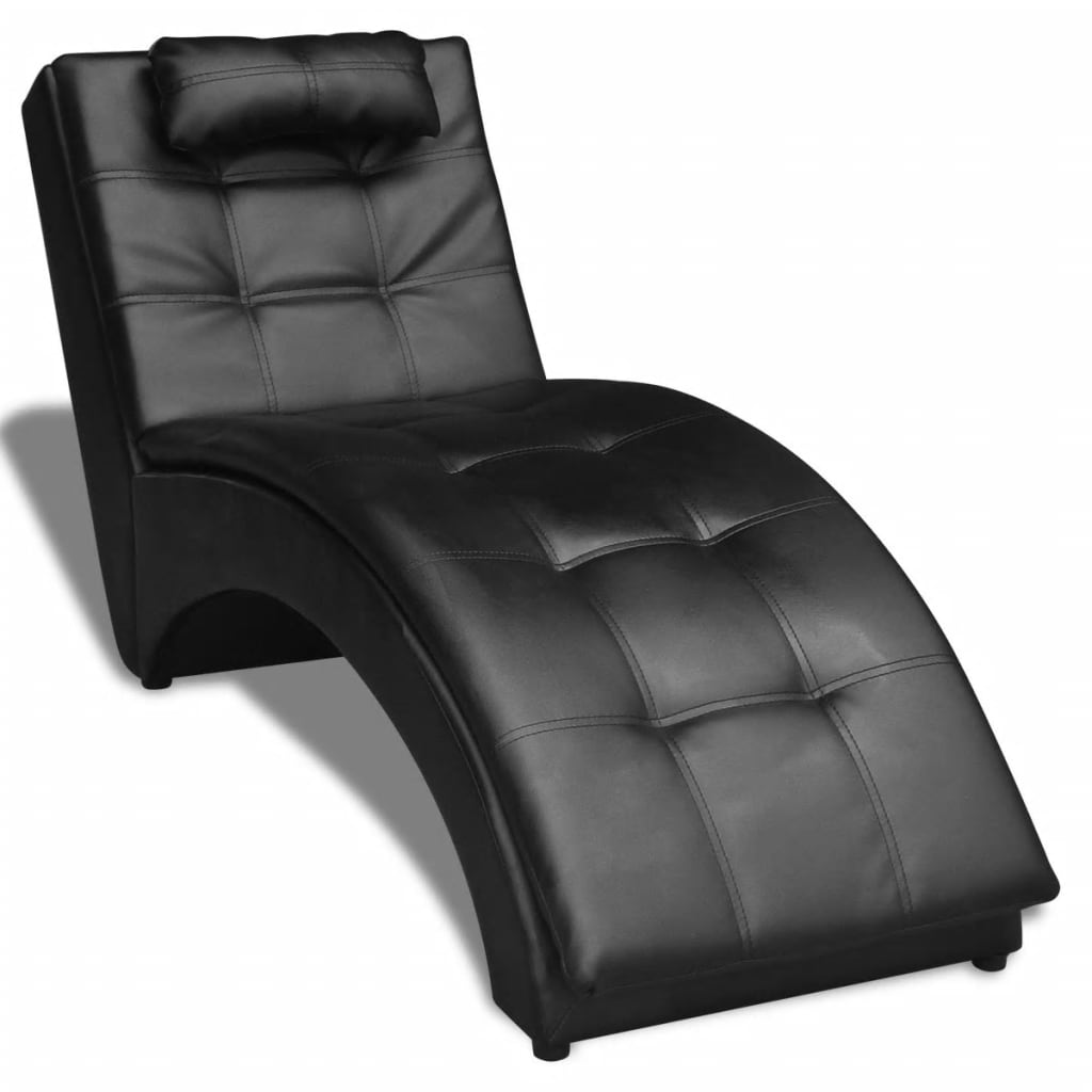 Vidaxl chaise longue with pillow artificial leather black for Black leather chaise longue