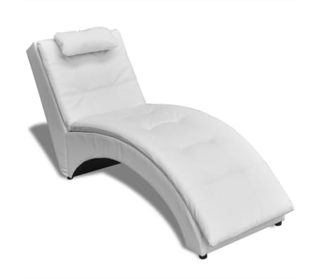 Vidaxl chaise longue with pillow artificial leather white for Chaise longue for sale ireland