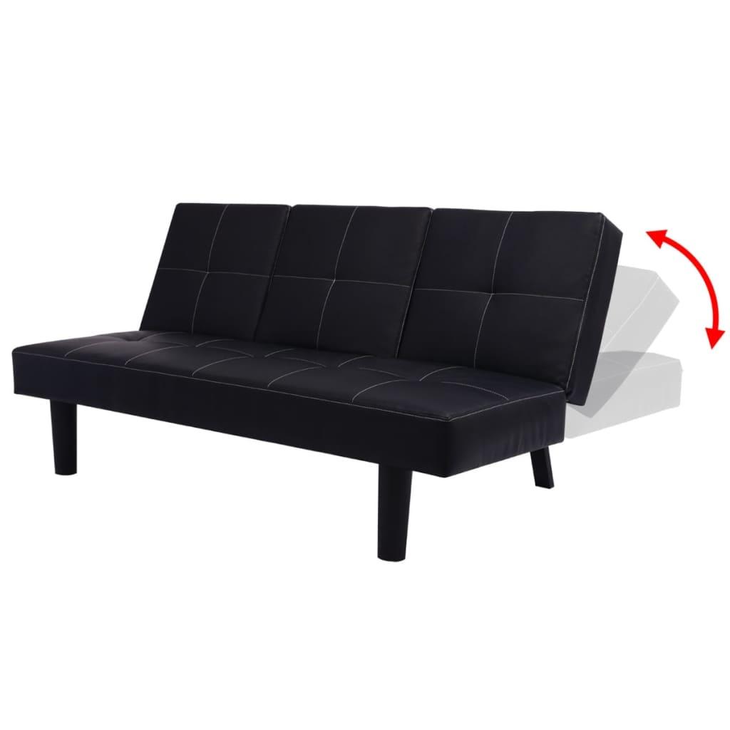 vidaxl schlafsofa mit ausklappbarem tisch kunstleder schwarz g nstig kaufen. Black Bedroom Furniture Sets. Home Design Ideas