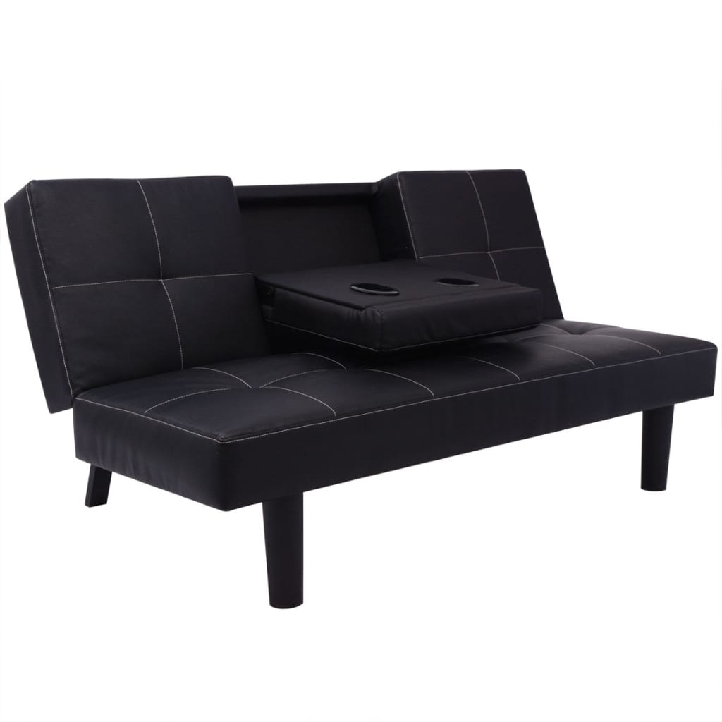 kunstleder sofabett sofa bett schlafcouch schlafsofa bettsofa tisch schwarz wei ebay. Black Bedroom Furniture Sets. Home Design Ideas