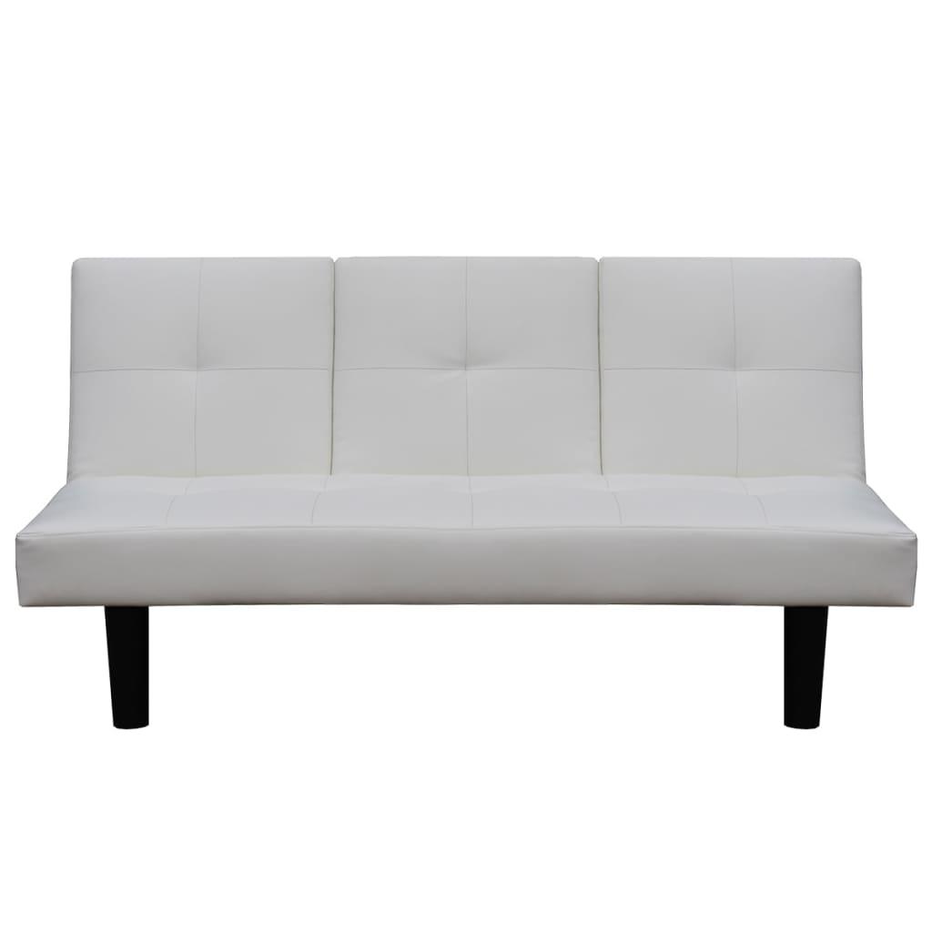 Acheter vidaxl canap lit avec table d roulante en cuir for Canape blanc solde