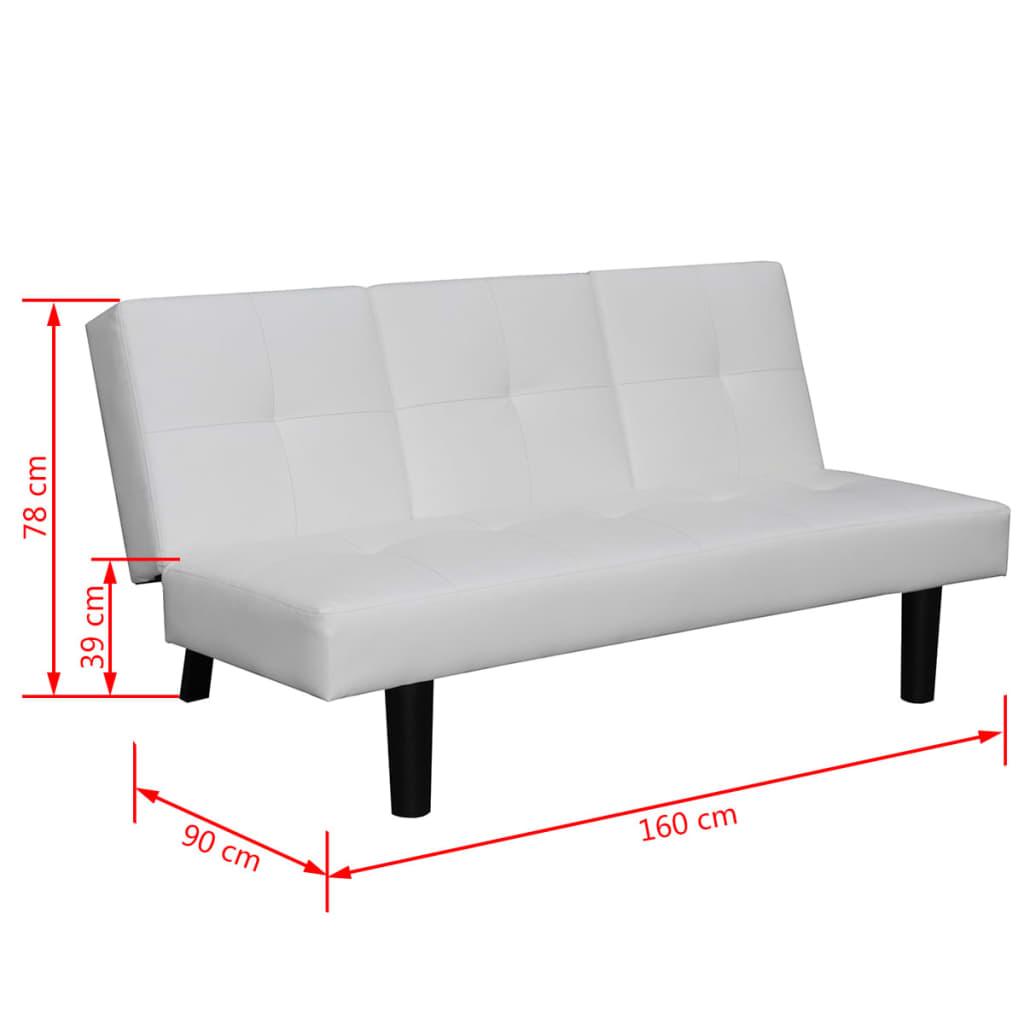 acheter vidaxl canap lit avec table d roulante en cuir artificiel blanc pas cher. Black Bedroom Furniture Sets. Home Design Ideas