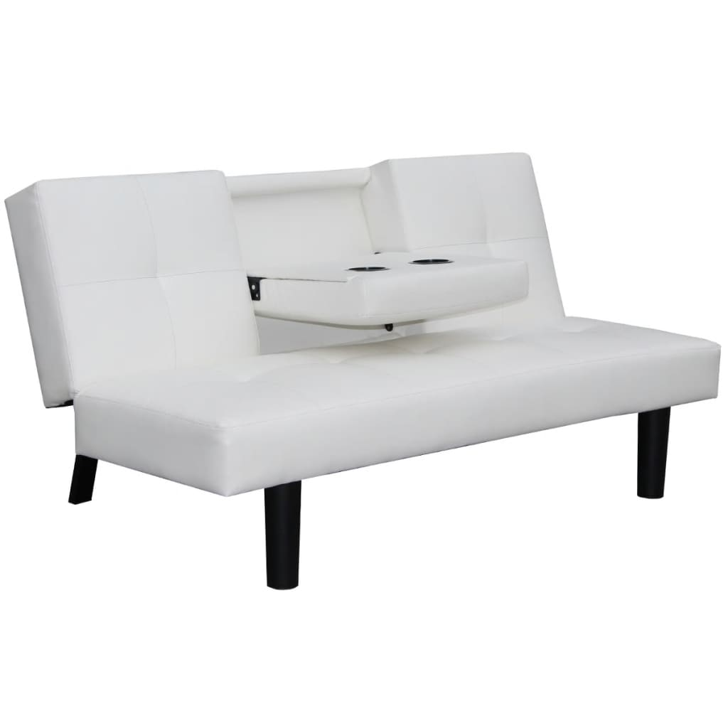 acheter vidaxl canap lit avec table d roulante en cuir artificiel blanc pas cher. Black Bedroom Furniture Sets. Home Design Ideas