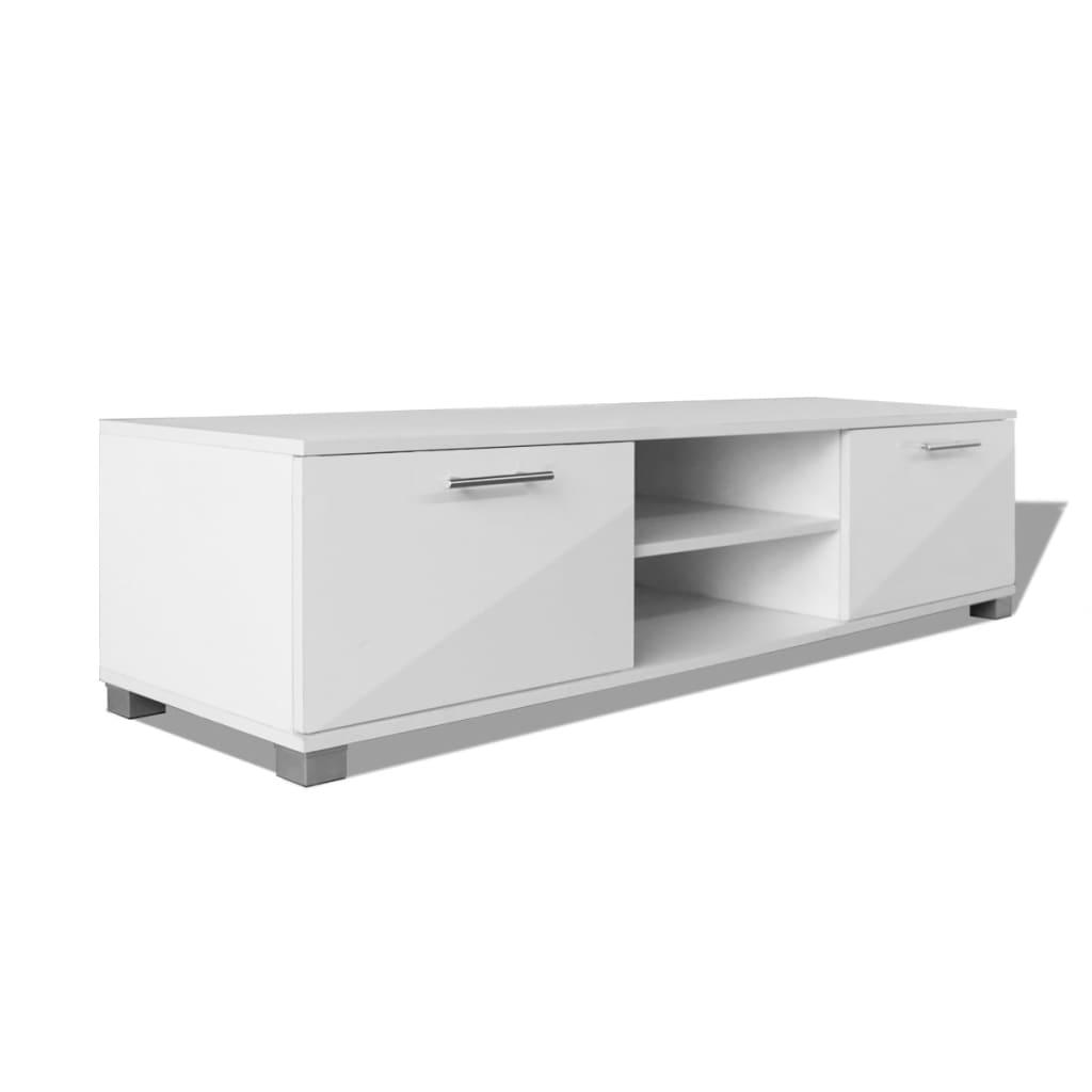 vidaXL Szafka pod TV na wysoki połysk biała 120x40,3x34,7 cm