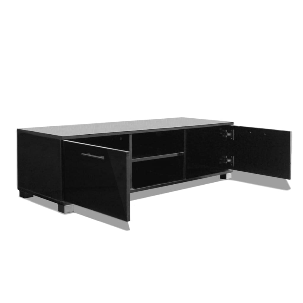 acheter vidaxl meuble tv noir brillant 120 x 40 3 x 34 7. Black Bedroom Furniture Sets. Home Design Ideas