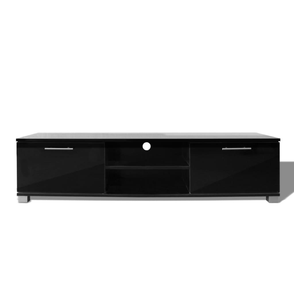 Vidaxl meuble tv noir brillant 120 x 40 3 x 34 7 cm - Meuble tv noir brillant ...