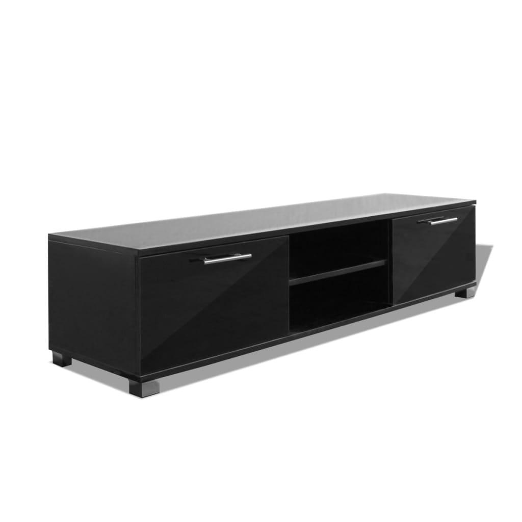 Vidaxl meuble tv noir brillant 120 x 40 3 x 34 7 cm for Meuble tv noir brillant