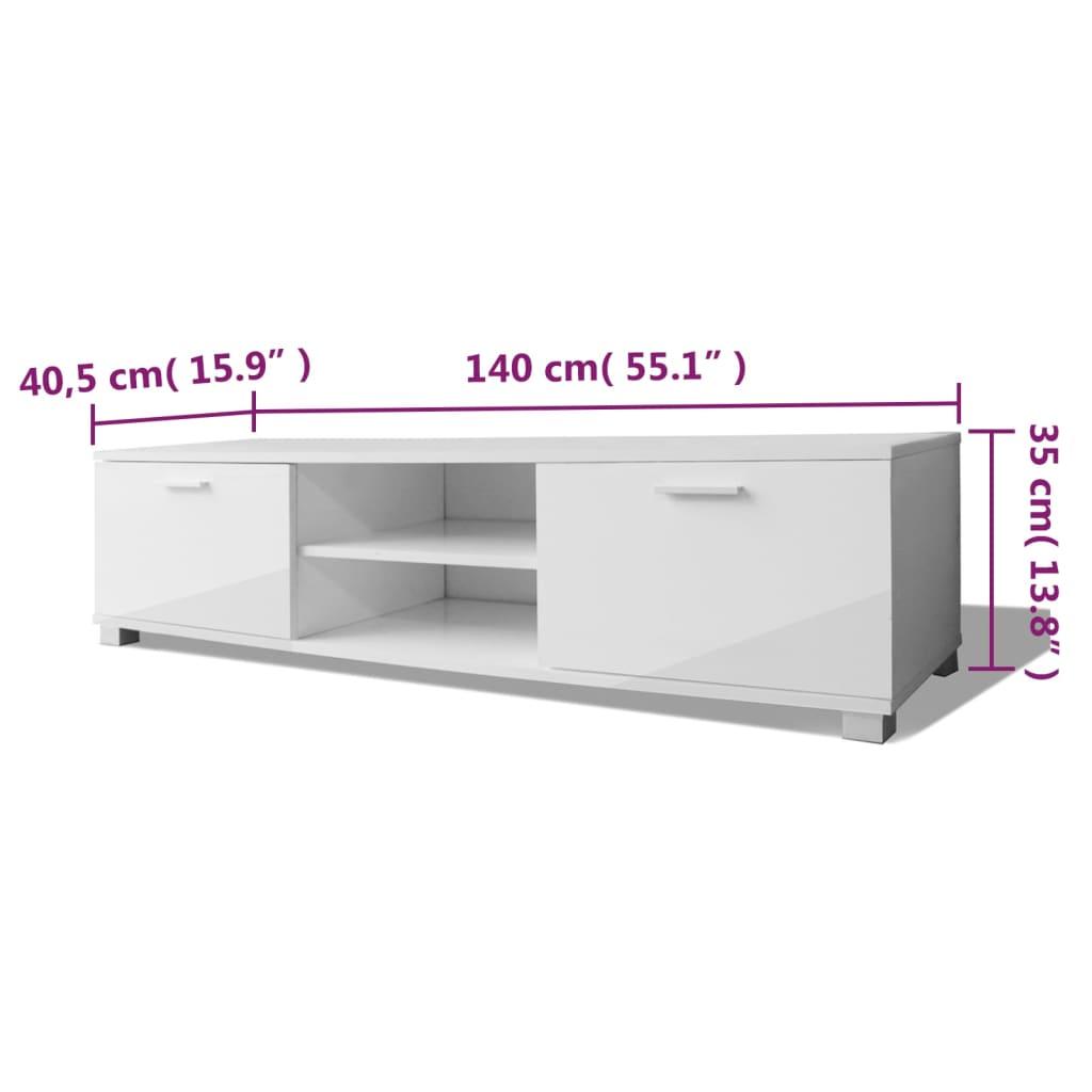 Acheter vidaxl meuble tv haute brillance blanc 140 x 40 for Meuble tv haut blanc