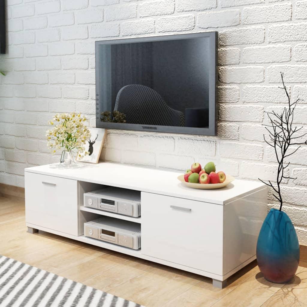 vidaXL 140x40,3x34,7 cm TV szekrény magasfényű fehér